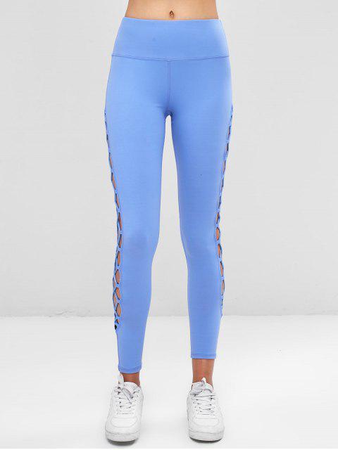 Recorte entrelazar puntos laterales leggings - Celeste M Mobile