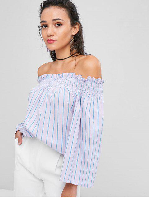 chic Shirred Striped Off The Shoulder Top - PERIWINKLE L Mobile
