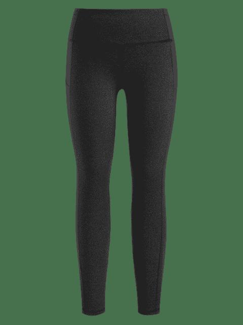 Kompressions Sport Leggings Mit Taschen - Dunkelgrau S Mobile