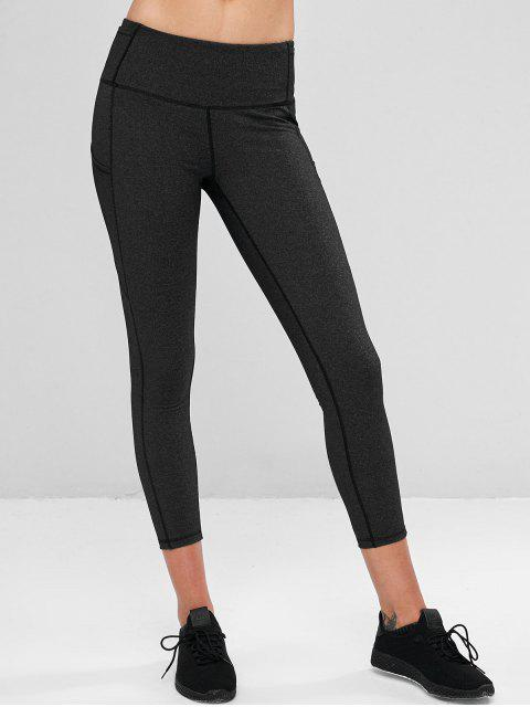 lady Compression Sports Leggings With Pockets - DARK GRAY L Mobile