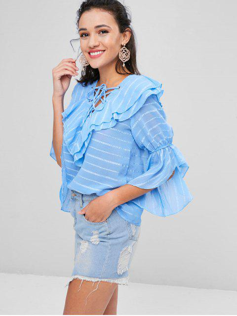fancy Lace Up Tiered Striped Blouse - BABY BLUE S Mobile