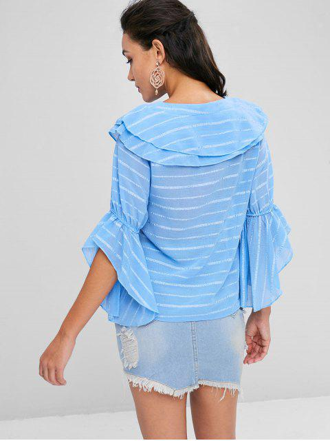 trendy Lace Up Tiered Striped Blouse - BABY BLUE L Mobile