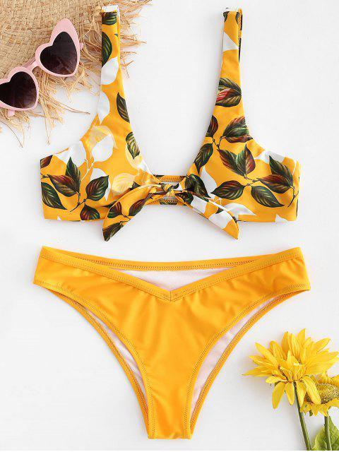 lady Leaf Print Knot Bralette Bikini Set - BRIGHT YELLOW L Mobile