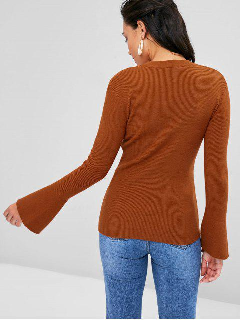 affordable Bell Sleeve V Cutout Choker Neck Sweater - BROWN L Mobile