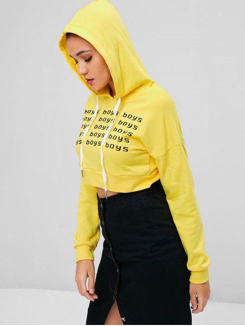 Sudadera con Capucha Corto Estampado Gráfico Niños - Amarillo de Maíz M Mobile