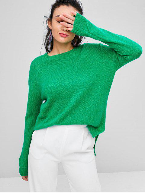lady Loose High Low Slit Sweater - GREEN L Mobile