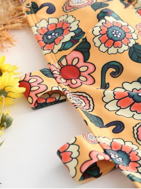 Traje de baño sin espalda con recorte de nudo floral - Amarilla de Abeja  S Mobile