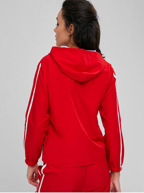 Kontrast Netz Jacke Mit Reißverschluss - Lava Rot L Mobile