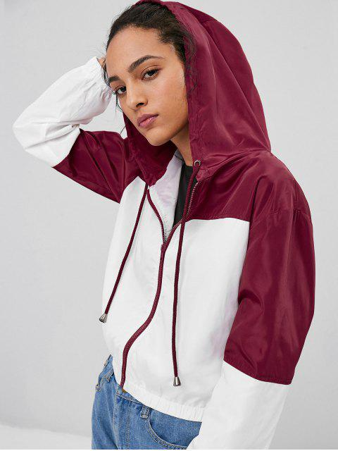 fashion Two Tone Hooded Jacket - WHITE M Mobile