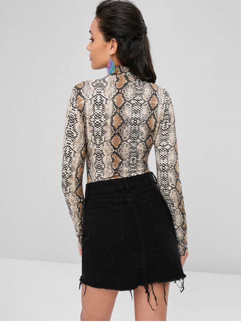 lady Snakeskin Long Sleeve Bodysuit - MULTI S Mobile
