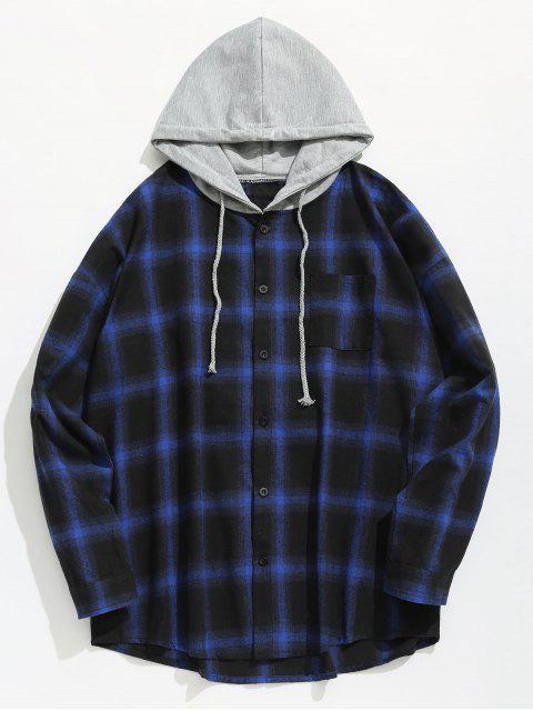 Brust Tasche Kariertes Hoodie Shirt - Blau L Mobile