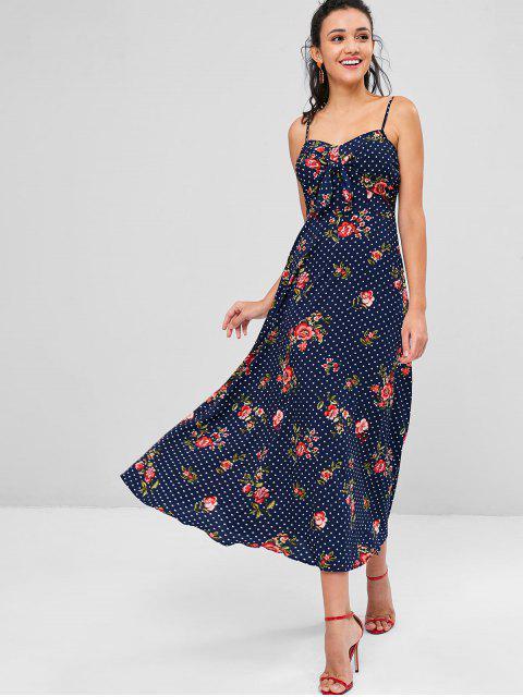 ladies Polka Dot Floral Maxi Cami Dress - LAPIS BLUE XL Mobile