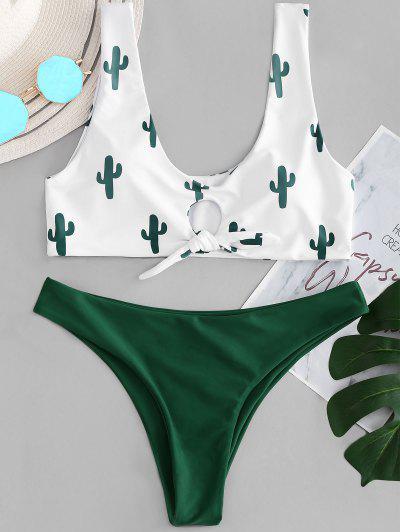 93a9d0fc9f3 Cactus Print Contrast Knot Bikini Set - White S