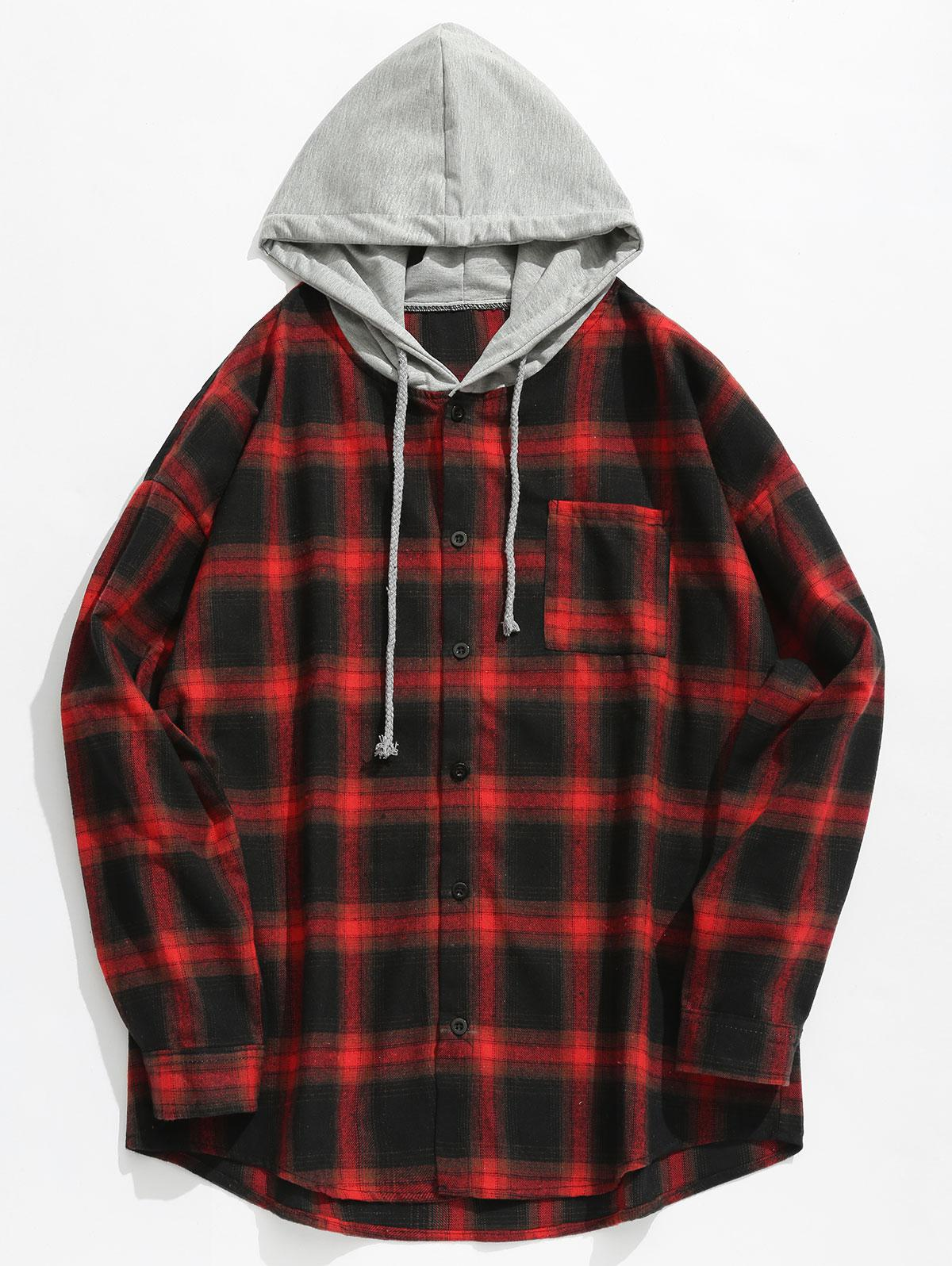 Chest Pocket Check Hooded Shirt, Red
