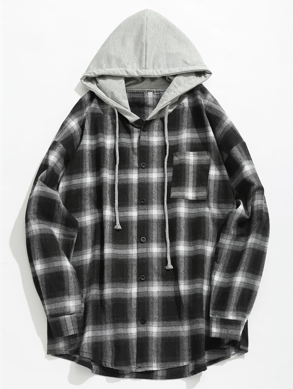 Chest Pocket Check Hooded Shirt, Black
