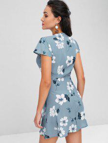 Con Azul Mini Estampado Vestido Claro M Floral zUR67wRvq
