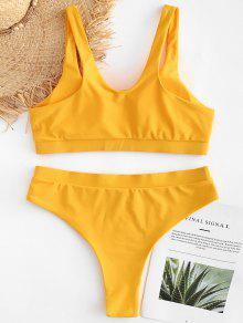 De Talla 3x Alto Brillante Talle Amarillo De Y Conjunto Grande Bikini Acolchado t6UqW70