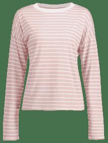 Manga Camiseta Larga Rayas De A Cerdo Rosa M 55TRrqwf