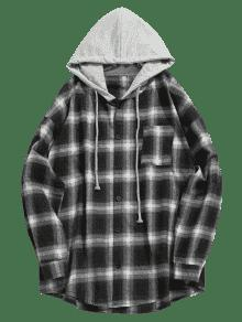 El Bolsillo En Camisa Capucha Con Xl Control Con Negro De Pecho qwxq40FP6