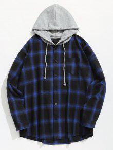 قميص الجيب الاختيار مقنعين - أزرق L