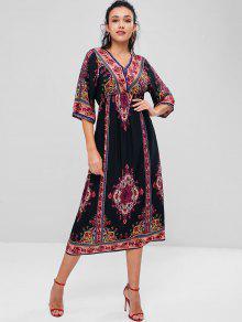 فستان منتصف عتيق بوهيمية مطبوع - متعدد M