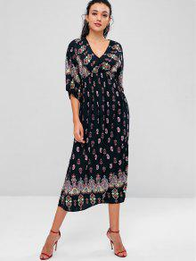 فستان عرائس بوهيمية متوسط الطول - أسود S