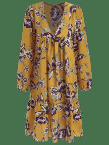 Dorado Cintura Floral 243;n Marr De Estampado S Imperio Con Vestido wfUI81q6