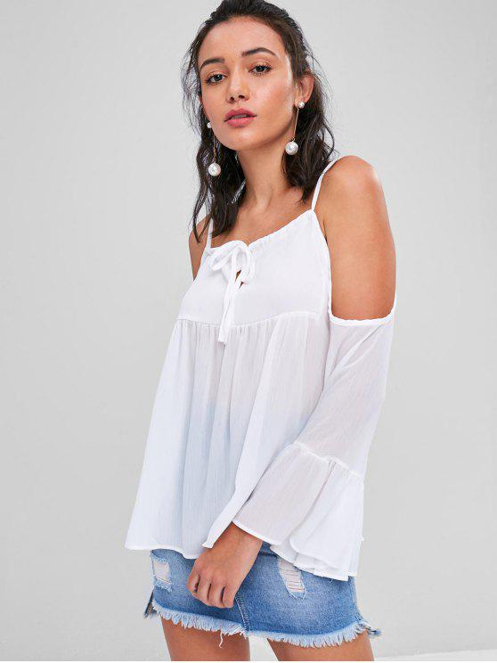 chic Textured Tie Cold Shoulder Blouse - WHITE M