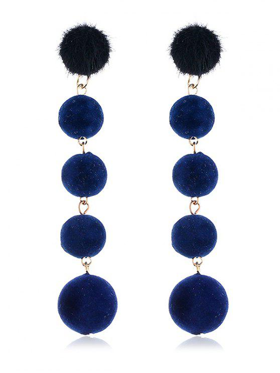 fancy Dangling Fuzzy Balls Decorative Drop Earrings - NAVY BLUE