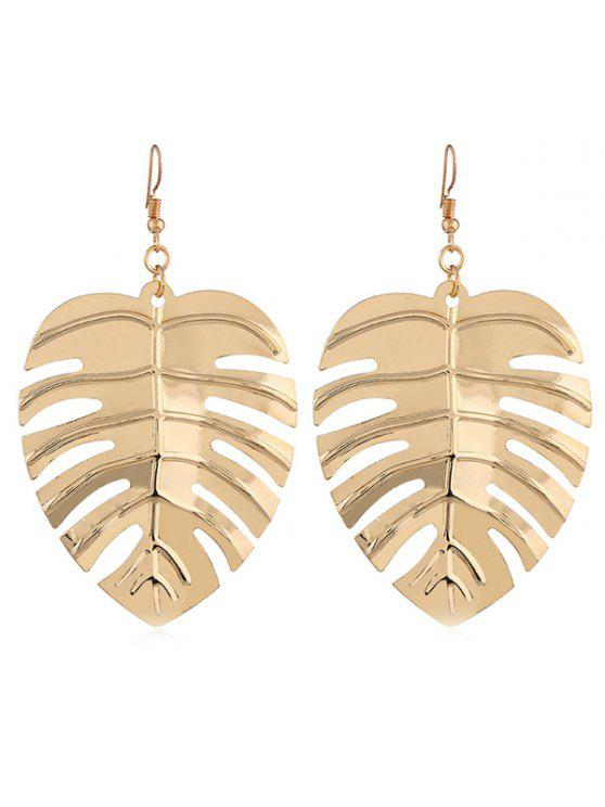 unique Stylish Hollow Out Leaf Alloy Hook Earrings - GOLD