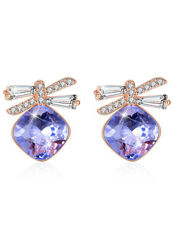 Pendientes de cristal brillante de diamantes de imitación Bowknot - Flor Púrpura