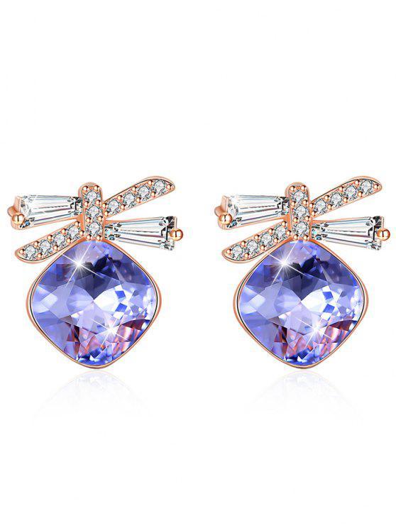 ladies Shiny Rhinestone Bowknot Crystal Earrings - PURPLE FLOWER