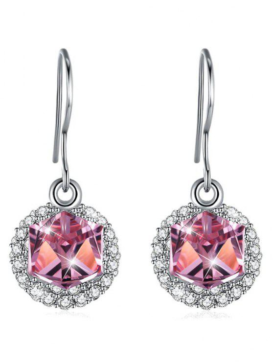 new Stylish Rhinestone Inlaid Crystal Hook Earrings - HOT PINK