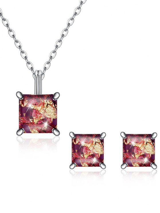 outfits Square Crystal Inlaid Pendant Necklace Earrings Set - PUCE