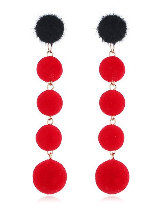 chic Dangling Fuzzy Balls Decorative Drop Earrings - RED
