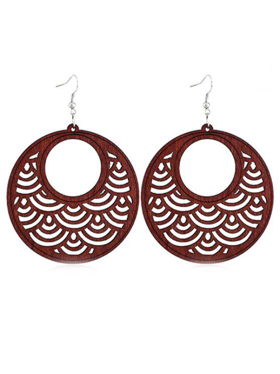 sale Hollow Out Round Wooden Hook Earrings - BLOOD RED