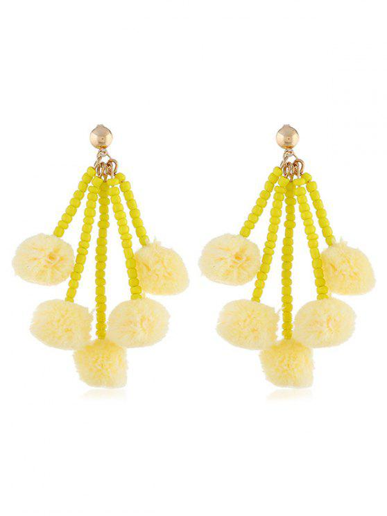 buy Cute Fuzzy Balls Beaded Drop Earrings - YELLOW