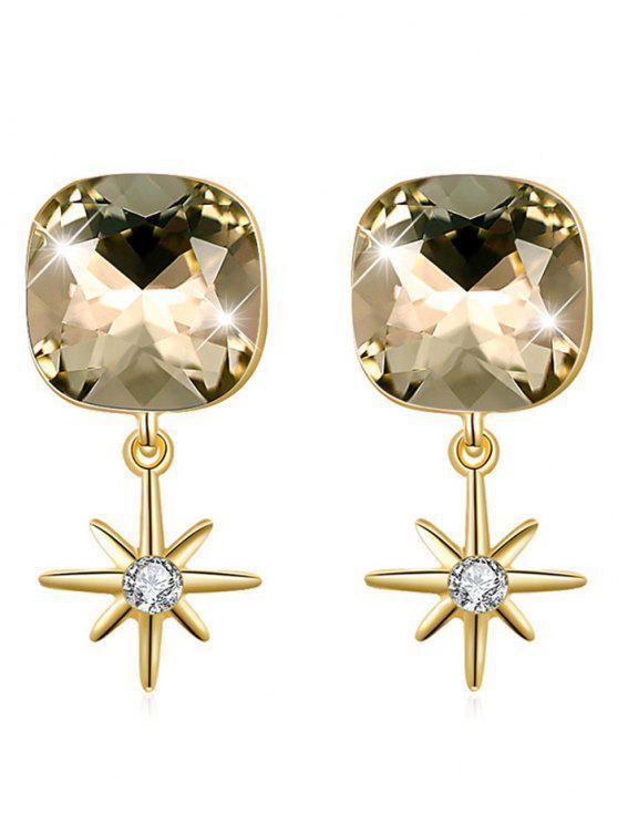 Elegantes aretes cuadrados con estrellas de cristal - Oro