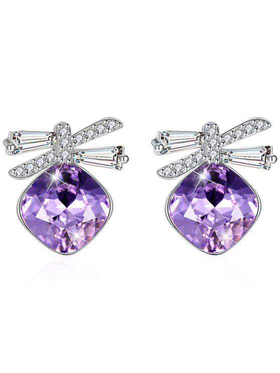 lady Shiny Rhinestone Bowknot Crystal Earrings - HELIOTROPE PURPLE
