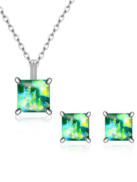 latest Square Crystal Inlaid Pendant Necklace Earrings Set - GREEN