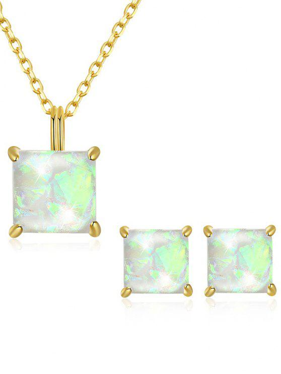 affordable Artificial Gem Inlaid Pendant Necklace Stud Earrings Set - WHITE
