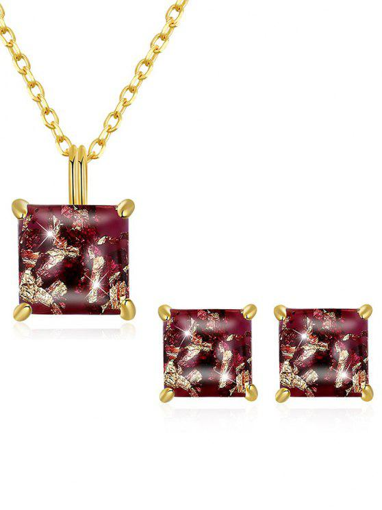 women Artificial Gem Inlaid Pendant Necklace Stud Earrings Set - PUCE