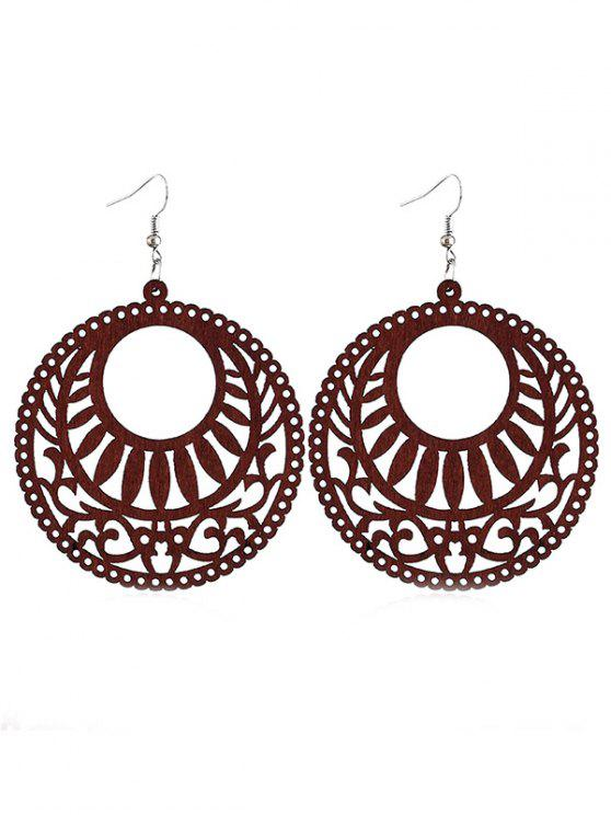 outfit Hollow Out Round Wooden Hook Earrings - SEPIA