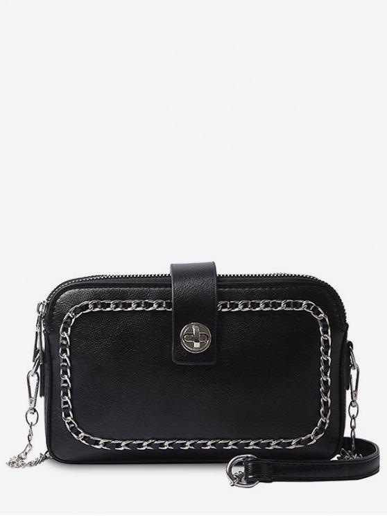 fancy Chain Minimalist Leisure Shopping Sling Bag - BLACK