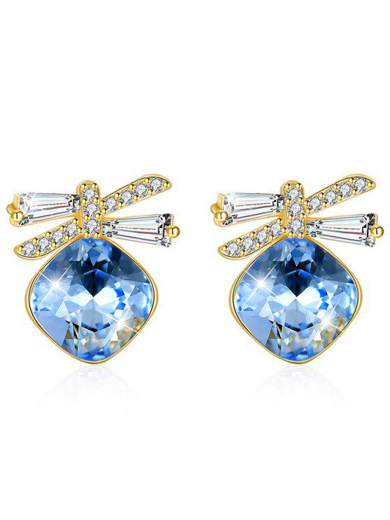 online Shiny Rhinestone Bowknot Crystal Earrings - BUTTERFLY BLUE