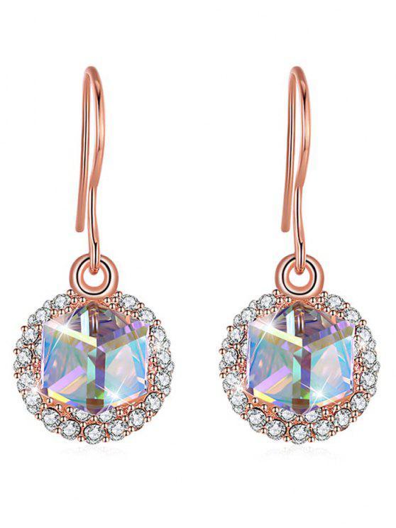 comprar baratas color atractivo bajo precio Elegantes aretes de cristal con incrustaciones de diamantes de imitación  ROSE GOLD HOT PINK