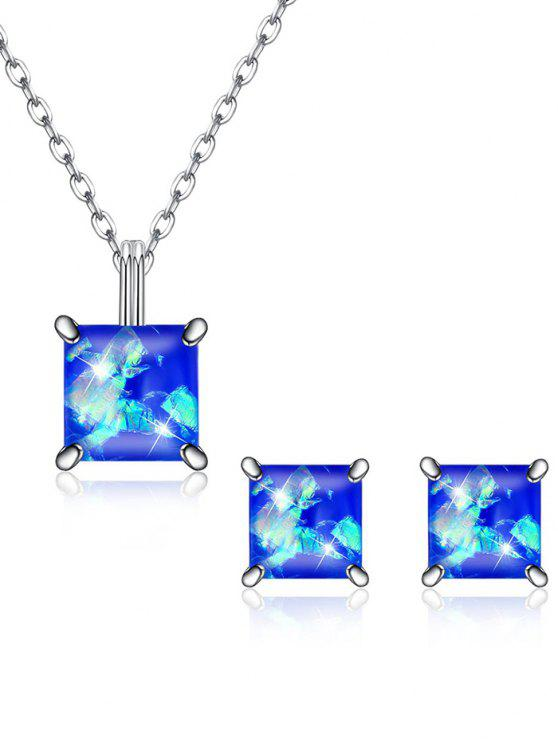 outfit Square Crystal Inlaid Pendant Necklace Earrings Set - BLUE