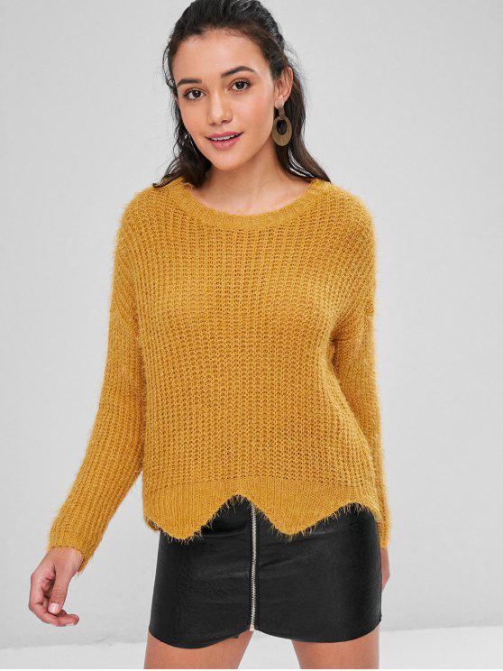 Zigzag Hem Loose Knit Sweater - Пчела-желтый M