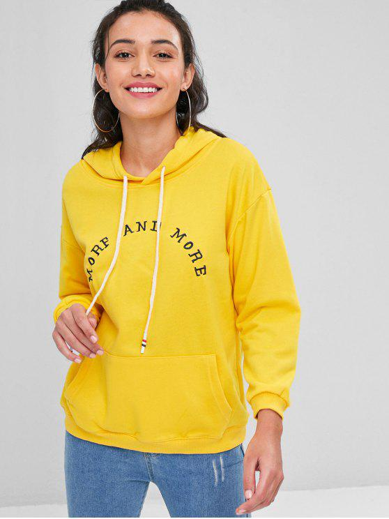 fancy Letter Embroidered Kangaroo Pocket Hoodie - RUBBER DUCKY YELLOW ONE SIZE