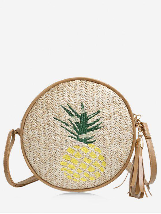 online Splicing Straw Tassel Pineapple Embroidery Sling Bag - LIGHT KHAKI